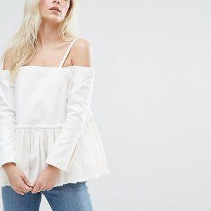 Off the shoulders ASOS denim white top